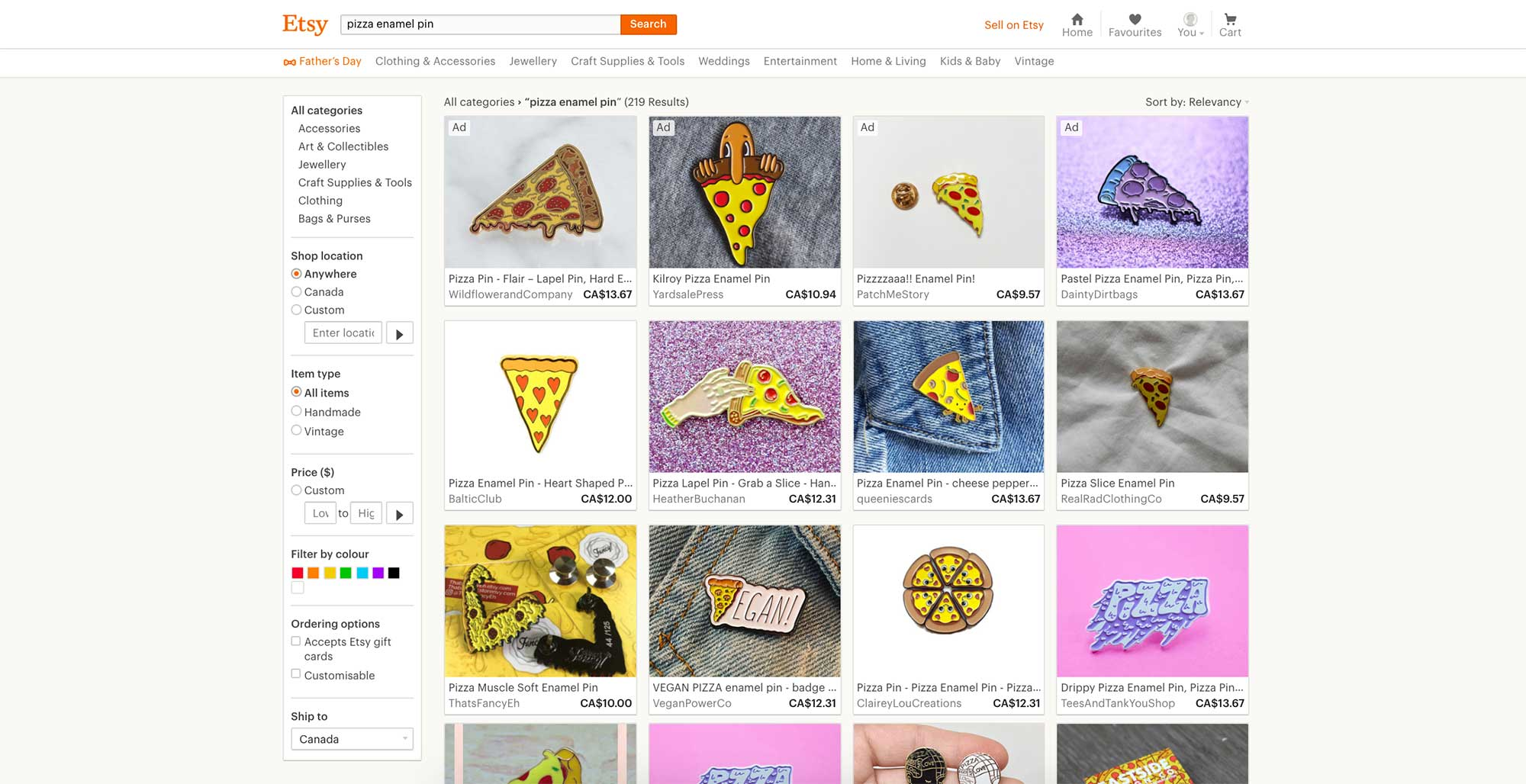 Pizza Enamel Pin Etsy Results