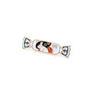 white rabbit enamel pin (front)