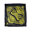 Black bandana with yellow screenprinted graphic