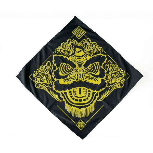 Black bandana with yellow screenprinted graphic